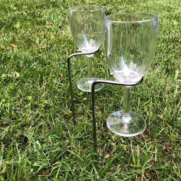 Other - Stainless Steel Wine Glass Stakes w/4 Glasses